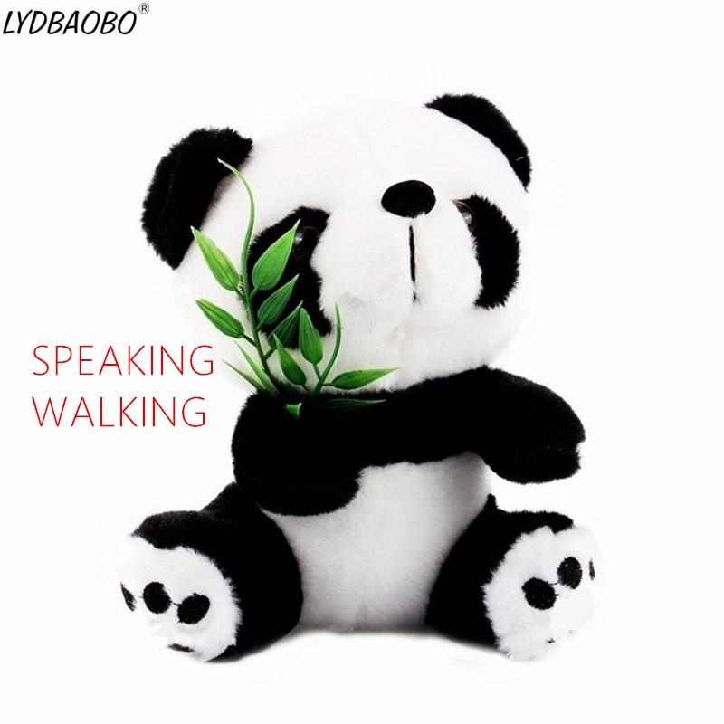 LYDBAOBO 1 adet 18CM konuşan Panda Pet peluş oyuncak sıcak sevimli yürüyüş hoparlör ses kayıt hayvan Panda eğitici oyuncak çocuk çocuklar hediye