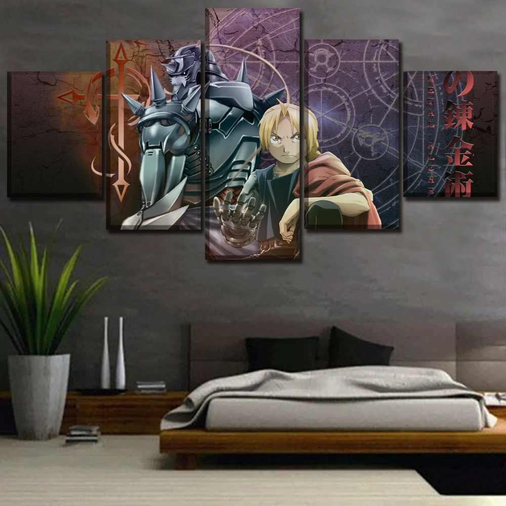 Canvas Art Print Modern Painting 5 Piece Alphonse Elric And Edward Elric Poster Anime Fullmetal Alchemist Picture Home Decor