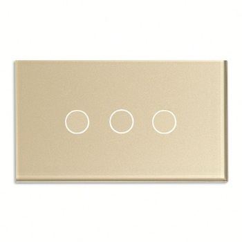 Bseed 240v Touch Switch 3 Gang 1 Way Light Touch Switch With Glass Panel Gold Touch Wall Switch Us Au Eu Uk smart home black touch switch crystal glass panel 3 gang 1 way us au light touch screen switch ac110 250v wall touch switches