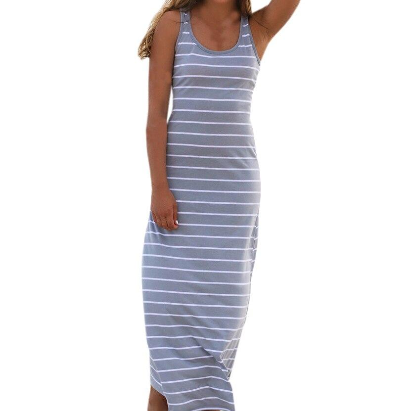 Sexy Women Plus Size Maxi Long Dress Summer Style Ladies Beach Vest Dress Striped Boho Long Sleeveless Casual Dress M0095 2