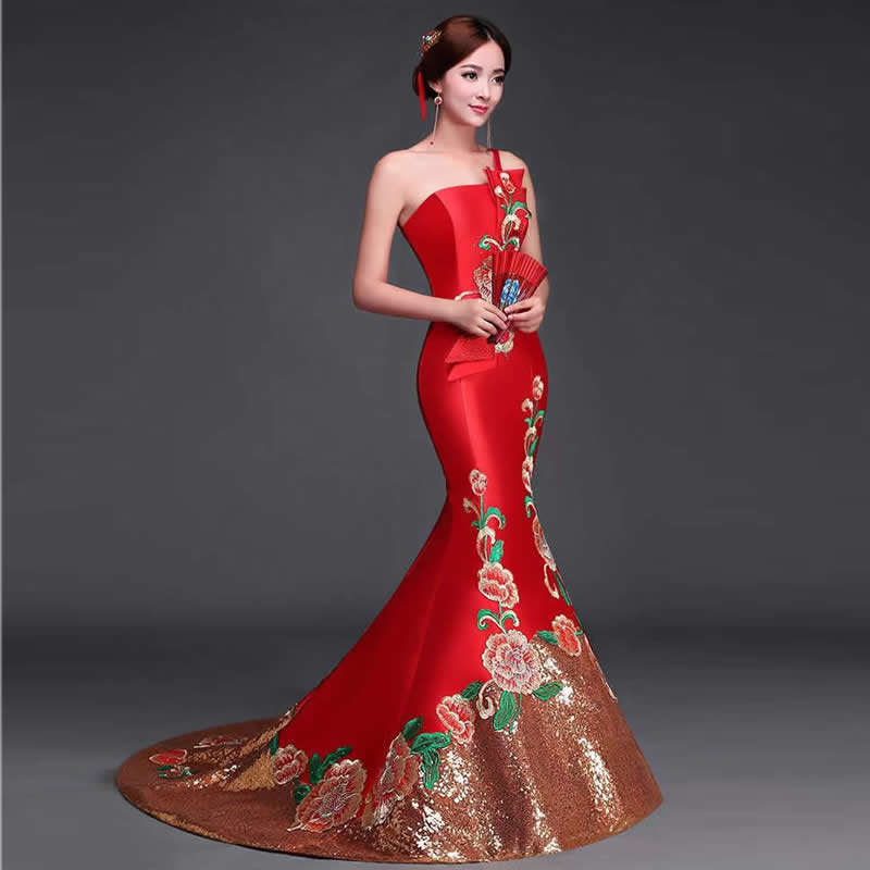 Luxury red chinese oriental dresses qipao long cheongsam for Asian red wedding dresses