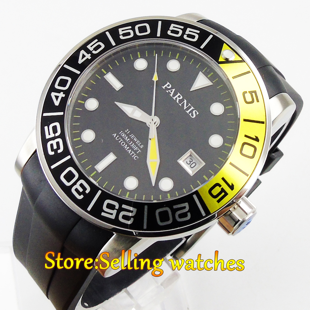 лучшая цена Parnis 42mm Sapphire glass black dial date Miyota automatic mens watch