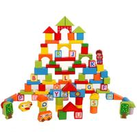 木製学習ブロック 100 ピース デジタル建物アルファベット文字ブロック childrenwooden おもちゃ ギフ