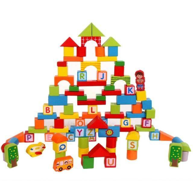wooden learning blocks 100pcs digital building alphabet letter