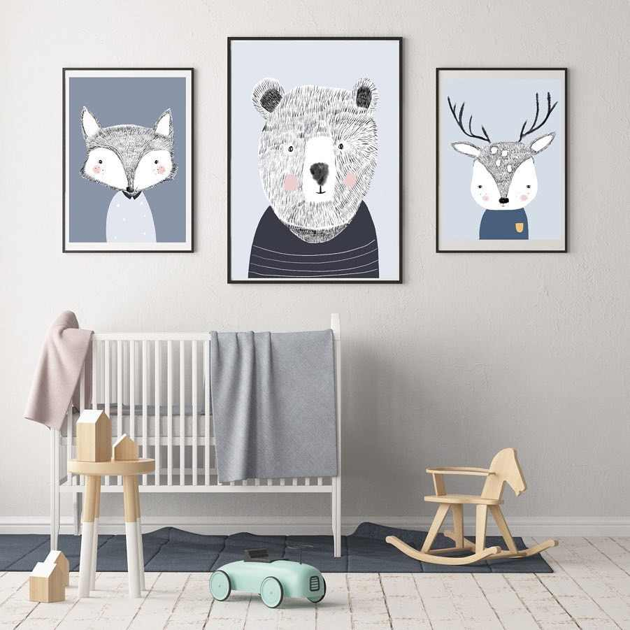 Nordic Cartoon Fox deer Bear Canvas Painting Bedside Animal Poster Wall Picture Home Children Boy Room Decor Mural