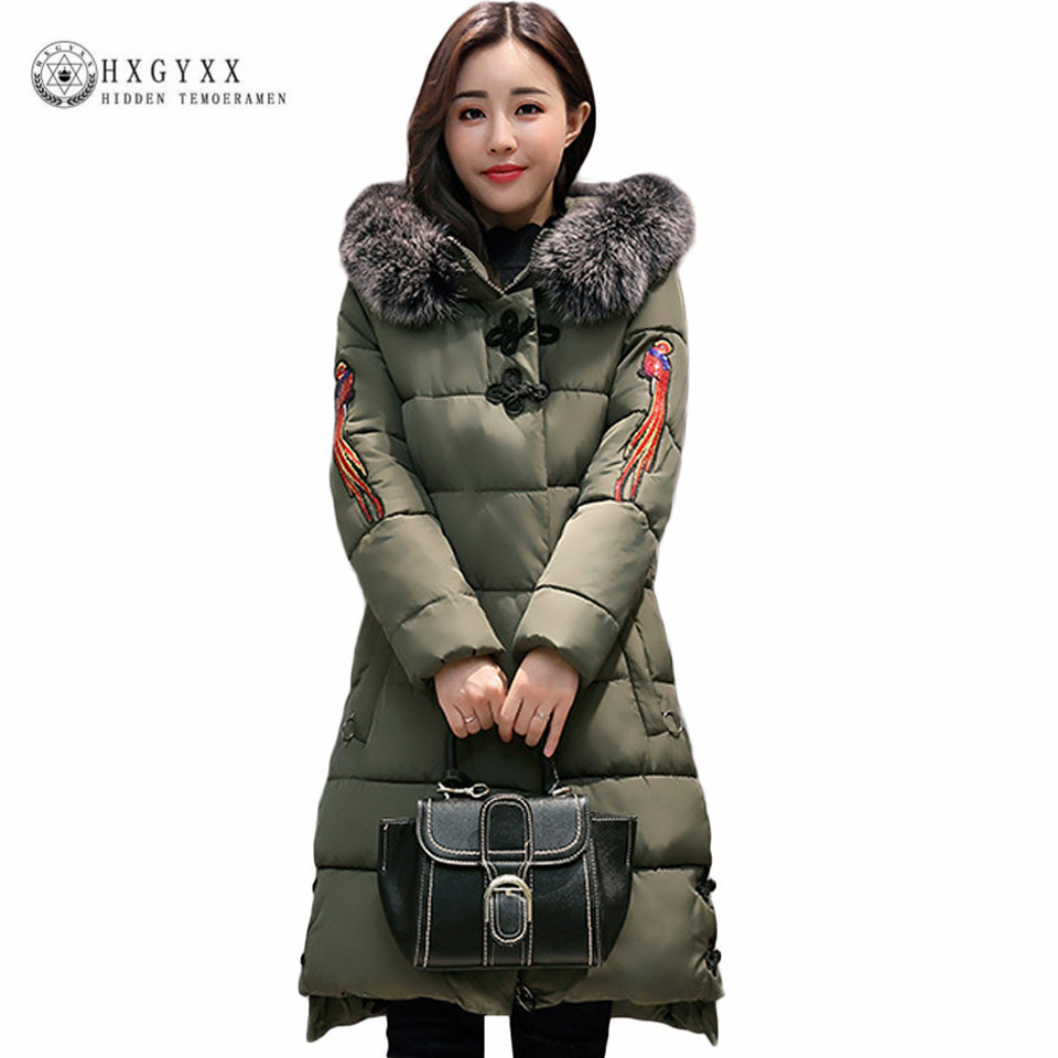 Plus Size M-5XL Warm Embroidery Parka 2017 New Fashion Large Fur Hooded Winter Jacket Women Long Slim Down Cotton Coat Oka616