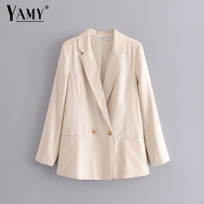 Fall 2019 Double Breasted Blazer Women Blazers And Jackets Vintage White Summer Blazer Mujer Office Lady Blaser Feminino