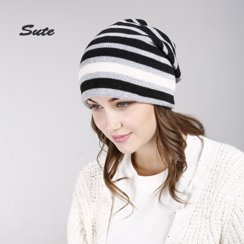 SUTE Spring Autumn hats for women knitted wool beanies hat new good quality female hat Skullies Beanies caps Warm hat M-327 female caps for autumn