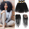 7a  Kinky Curly Virgin Hair With Closure Rosa Hair Products Malaysian Virgin Hair With Closure 3 Bundles Curly Hair With Closure