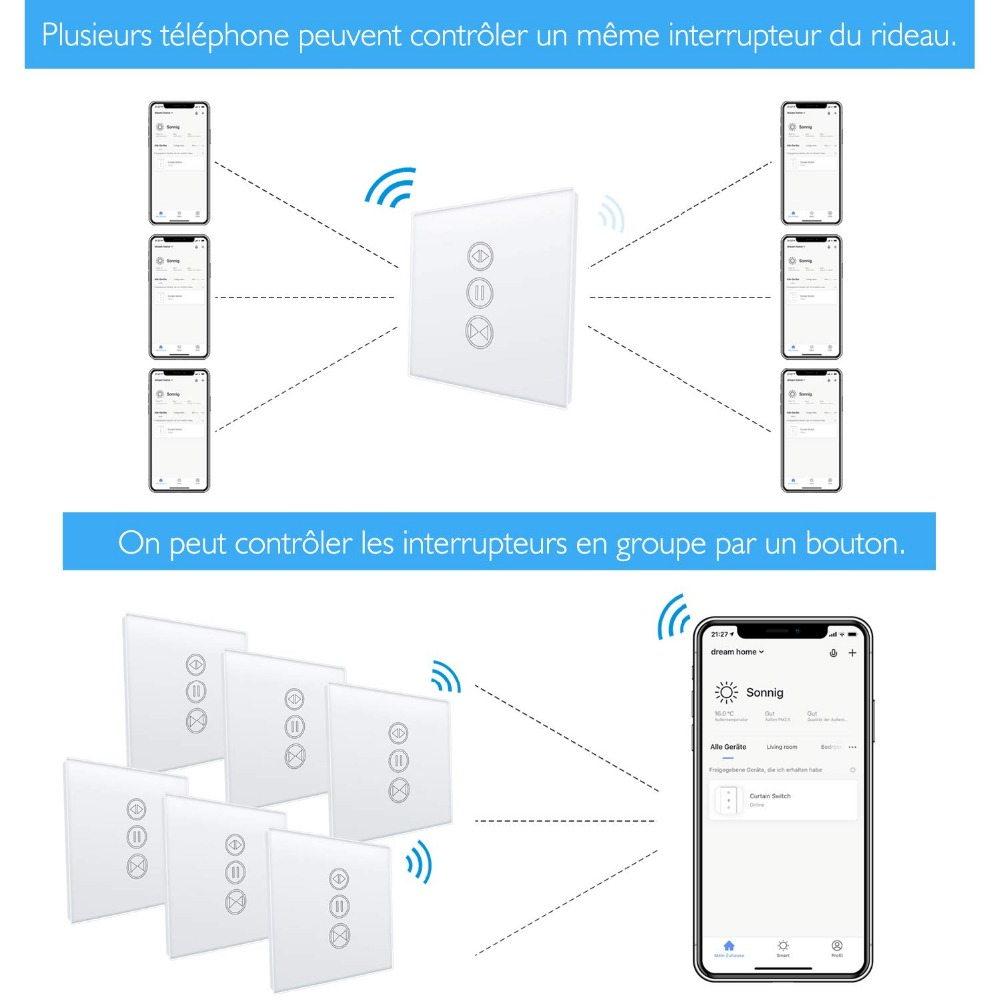 EU WiFI Smart Curtain Switch Google Home Alexa echo Voice Control Electric  Blind Roller Shutter Motor Tuya Smart Life App Timer