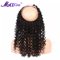 Maxine Hair Deep Wave Free Part 360 Lace Frontal with Bleached knots and Baby Hair 130 % Density Remy Human Hair Closure