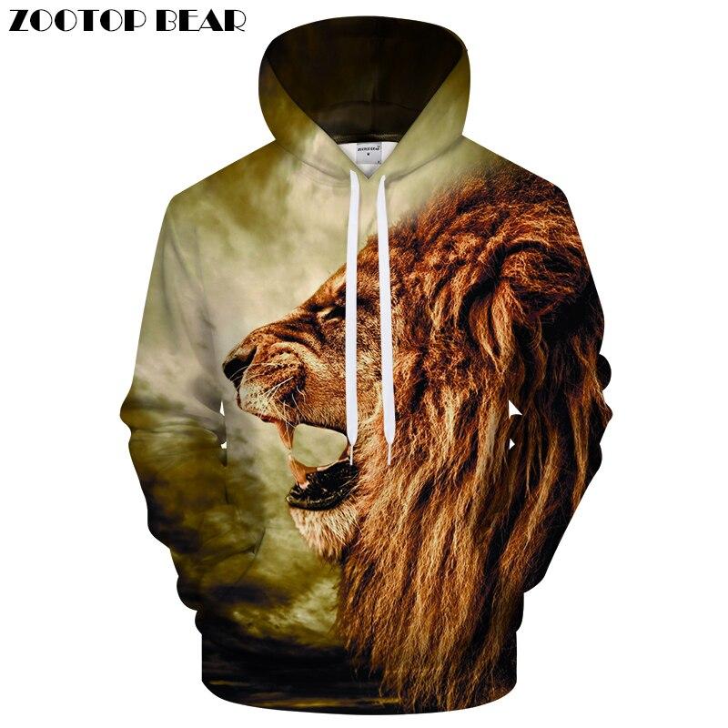 Brand 3D Hoodies Lion Printed Men Women Sweatshirts Hooded Tracksuits Fashion Casual Pullover Drop Ship 6XL Streetwear Male Coat