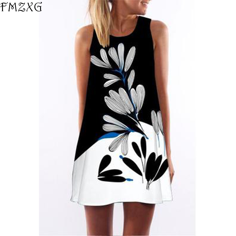 FMZXG New Print Women Round Neck Sleeveness Dress Casual Patchwork Vinage Style Short Bohemian Dress Loose White Dresses