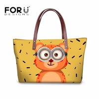 FORUDESIGNS Cartoon Women Vintage Handbags Cute Pet Dog Cat Printed Large Capacity Women Shoulder Messenger Crossbody Bags Mujer