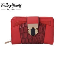 2017 Sally Young International Brand Women Wallet Casual Short Purse Crocodile Pattern Metal Buckle Solid 5Color