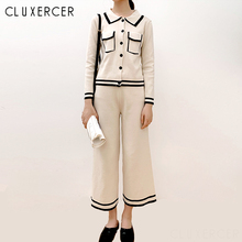 Spring Autumn Knitted Two Piece Set Women Korea Chic Stripe Cardigan And Leg Pants Suit Womens Outfits