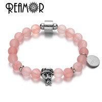REAMOR Pink Quartz Crystal Natural Stone Charm Bracelets 316l Stainless Steel Girl Bead Elastic Bracelet Women