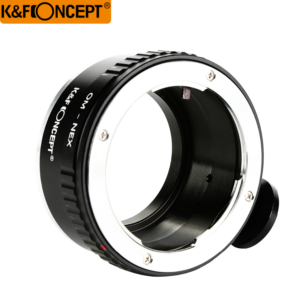 K&F Concept Lens Adapter Lens with Tripod for Olympus OM Zuiko Lens to Sony Nex E Mount DSLR Camera Camera