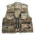 Frete grátis, multifuncional Preto vest dos homens, multi bolsos homens colete, jaqueta colete repórter, camuflagem Militar verão