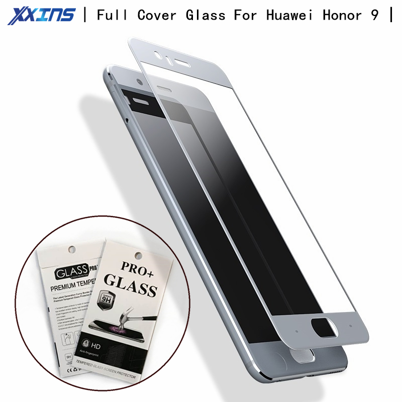 Xxins Full cover Glass For Huawei Honor 9 Screen Protect smartphone High definition colorful Tempered glass retail package in Phone Screen Protectors from Cellphones Telecommunications