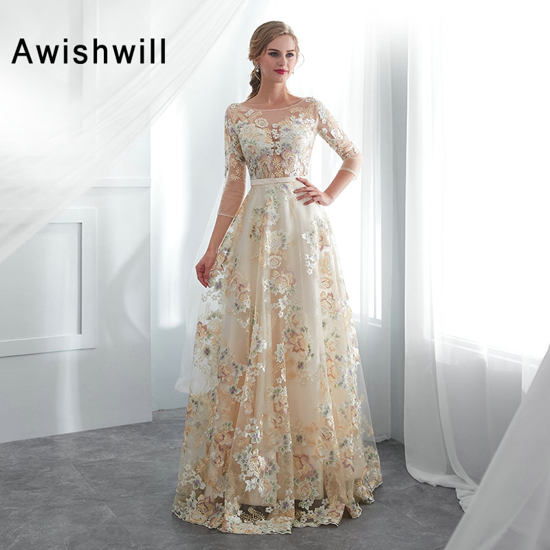 3D Flower Lace   Prom     Dresses   With 3/4 Sleeves A-line   Prom   Gowns Floor Length Women Formal Gowns Cheap Party   Dress   Abendkleider
