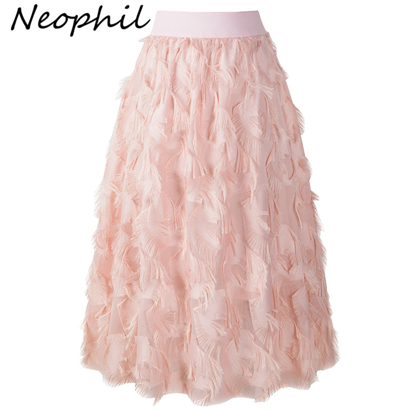 Neophil White Mesh High Waist Saia Midi Skirts Womens 2019 Summer Sweet Kawaii Feathers A line Long Jupe Tulle Femme Skirt S1653