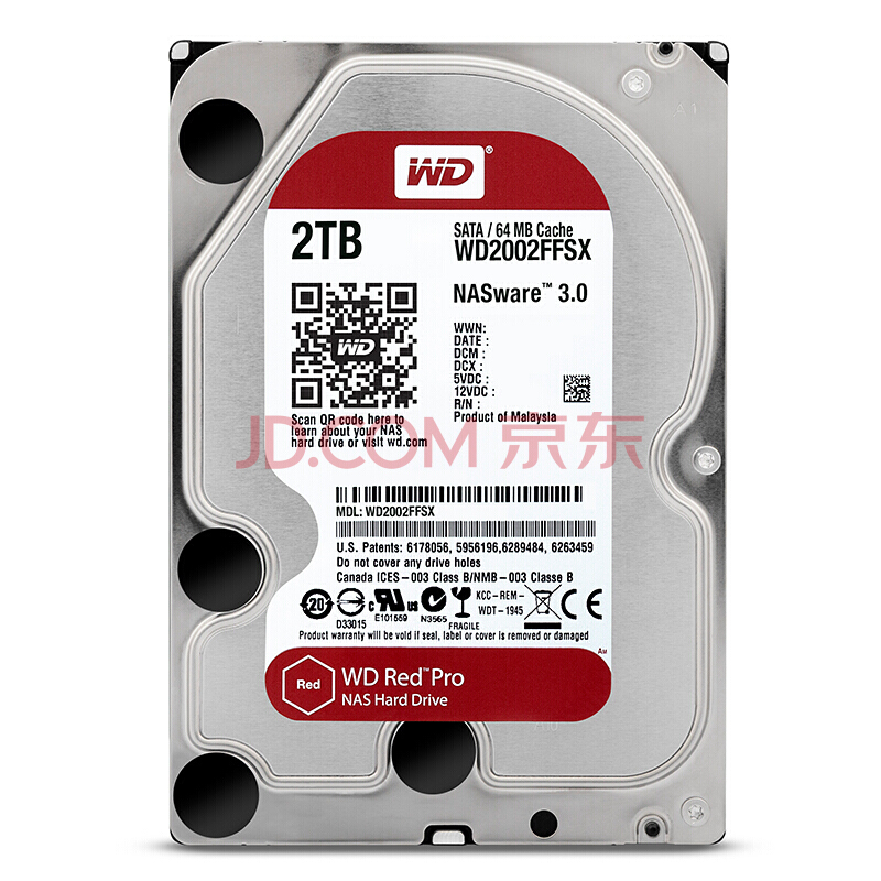 WD RED Pro 2TB Disk Network Storage 3.5 '' NAS Hard Disk Red Disk 2TB 7200RPM 256M Cache SATA3 HDD 6Gb/s WD2002FFSX