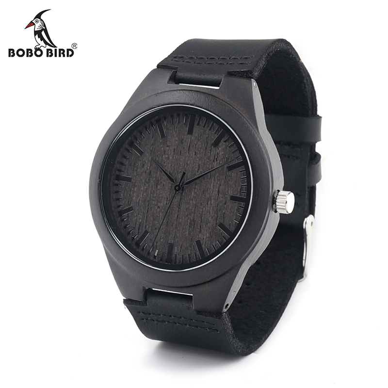 BOBO BIRD V-D26 Mens Black Ebony Wooden Watch Wood Dial Leather Quartz Watches in Gift Box relojes hombre 2016 bobo bird wh05 brand design classic ebony wooden mens watch full wood strap quartz watches lightweight gift for men in wood box