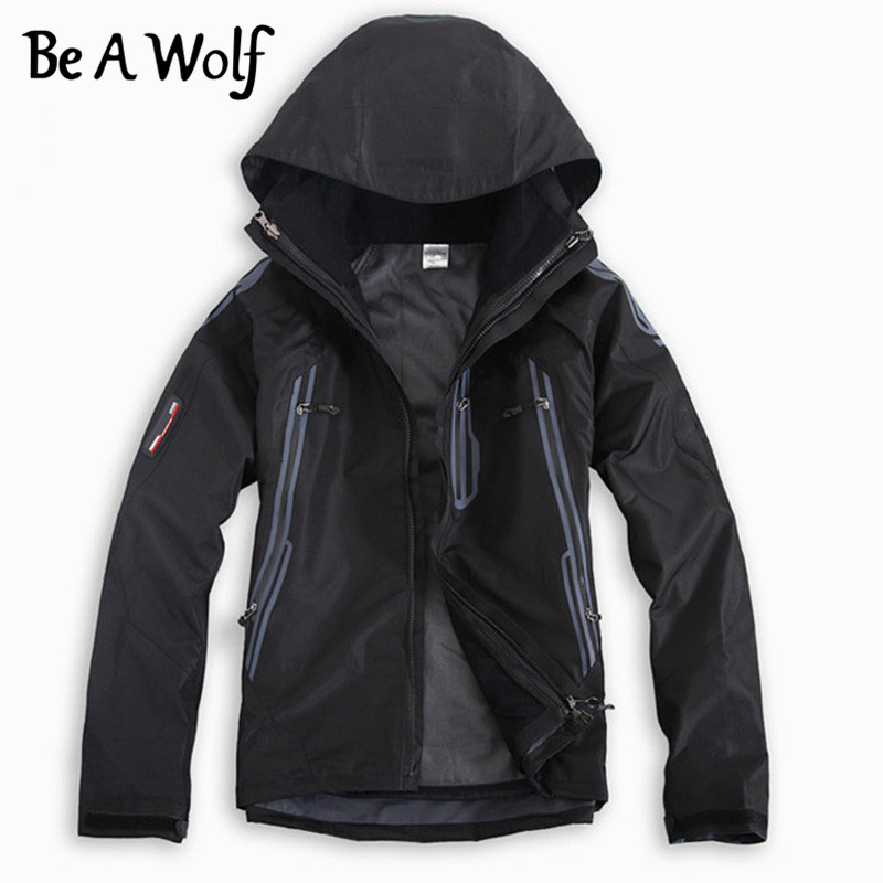 Be A Wolf Hiking Jackets Men Ski Coat Waterproof Winter Windbreaker Outdoor Clothing Softshell Camping Climbing Jacket Suit 601
