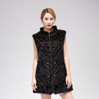 2016 nuevo cordón de la manera chaleco de piel de visón abrigo de invierno mujer ropa código L-7XL verdadero natural de punto de visón de piel de Las Mujeres chaqueta