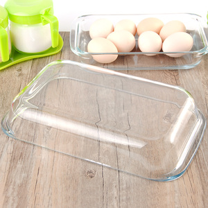 Image 4 - Clear Oblong Toughened Glass Baking Dishes Pan Oven Basics Plate Bakeware Non Stick Kitchen Tool Cheese Rice Tray