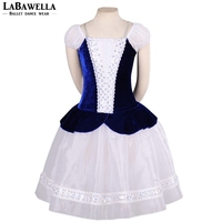 Adult Village romantic Ballet tutu Girl Professional ballet long tutu Blue White Peasant Ballerina Dress CostumeBT8953A