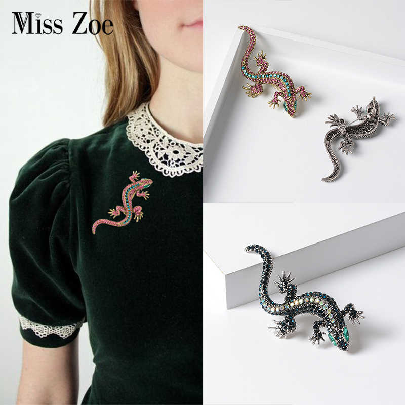 Lizard Crystal Brooch Corsage Boutonniere Gecko Lapel pin for Coat Shirt Sweater Collar Jewelry Gift for Girls Friend Women