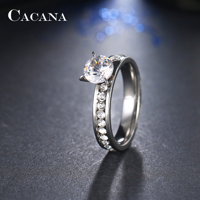 CACANA Titanium Stainless Steel Rings For Women Circle CZ Fashion Jewelry Wholesale NO.R174 2