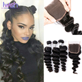 8a Brazilian Loose Wave With Closure Wet And Wavy Virgin Brazilian Hair With Closure Remy Human Hair Bundles With Closure