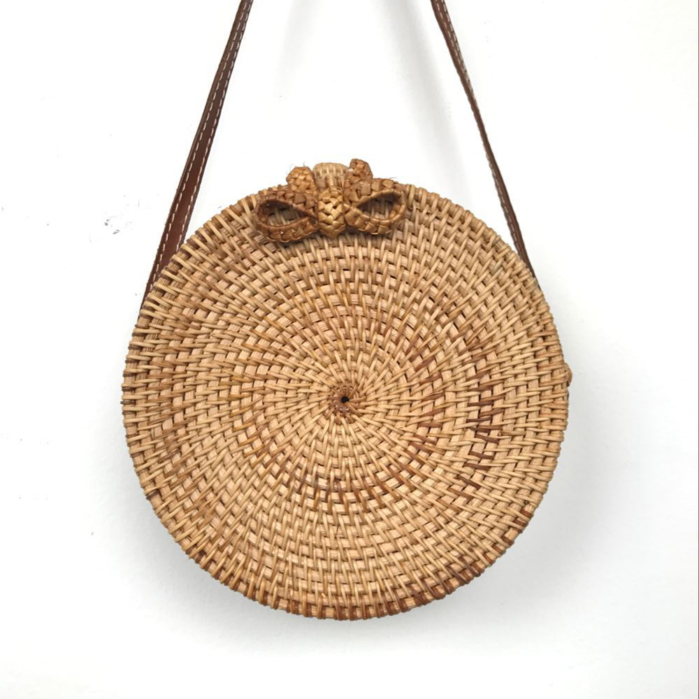 Vietnam Hand Woven Bag Round Rattan Straw Bags Bohemia Style Beach Circle  Bag INS Popular-in Shoulder Bags from Luggage   Bags on Aliexpress.com  1c9a1ba34ec8d
