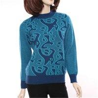 Большие размеры 100% козья кашемир половина высокий воротник плотного трикотажа женщин печатных пуловер свитер красный 3 вида цветов M 3XL Розн