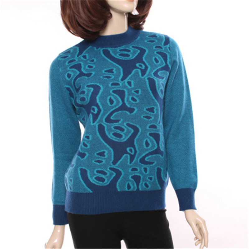 large size 100%goat cashmere half high collar thick knit women printed pullover sweater red 3color M 3XL retail wholesale