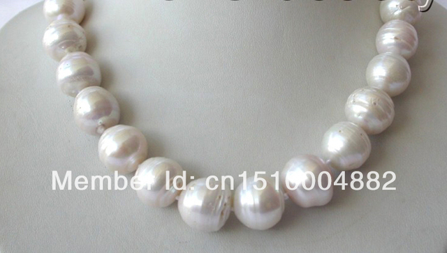 shitou 0016 stunning big 17mm baroque round white reborn keshi freshwater pearl necklace