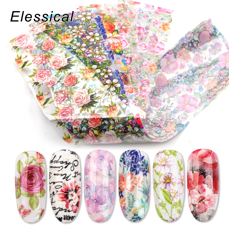 New 12pcs 4*20cm Nail Art Foil Transfer Stickers For Nails Sliders Design Manicure Decals Nail Decoration 3d wraps Flower Set-in Stickers & Decals from Beauty & Health