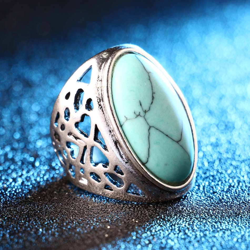 Unique Big Oval Ring Bohemian Style Tibet Silver Alloy Jewelry Forever Love Free Promise Rings Carteiras Femininas