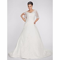 LAN TING BRIDE Backless A Line Plus Size Wedding Dress Court Train Taffeta Bridal Gown With