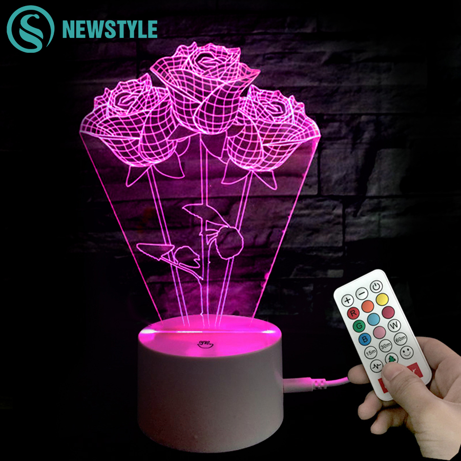 Valentine 3D LED Night Light Flower Style Romantic Rose RGB Night lamp DC5V Charging Touch /Remote control light keyshare dual bulb night vision led light kit for remote control drones