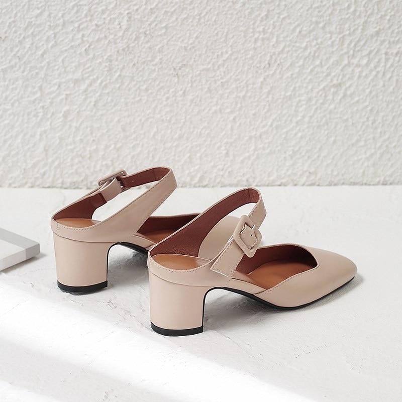 Hauts Beige Bureau noir Allbitefo Pour Véritable Cuir De Talons Mode Bout Boucle Nouvelle En Dames Femmes Pleine Carré Chaussures À UaqUv