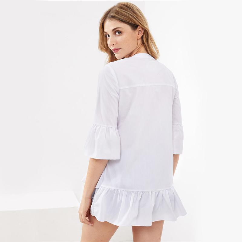 HTB18U5URVXXXXcbXXXXq6xXFXXXu - Frill Trim Shirt White Button Up Blouse JKP070
