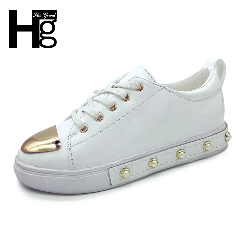 HEE GRAND Women Casual Flats 2018 Pearl PU Leather Black White Spring Autumn Platform Shoes Lace Up Creepers Shoes Woman XWD6353 hee grand lace up gladiator sandals 2017 summer platform flats shoes woman casual creepers fashion beach women shoes xwz4085