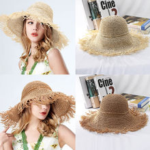 Embroidery Summer Straw Hat Women Wide Brim Sun 100%Raffia Protection Casual Vacation Travel Wide Sun Hats for Women Ladies 41*(China)