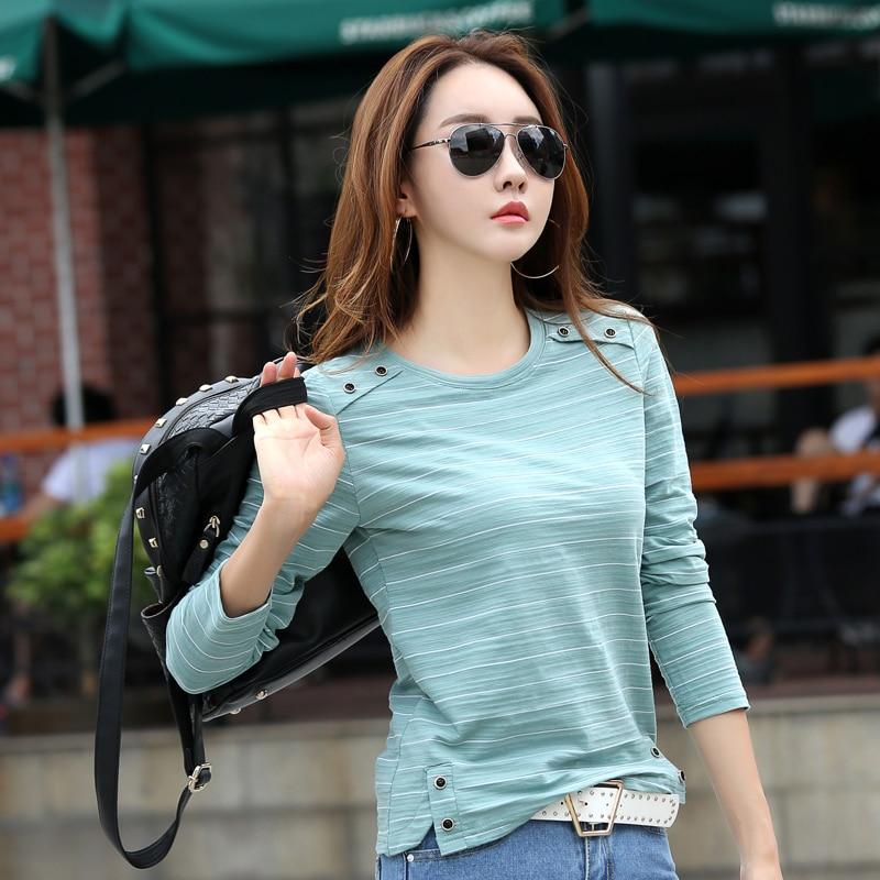 Long Sleeve Female T-shirt Striped Slim Fit Bamboo Cotton Autumn Winter Tops New 2018 T Shirt Women Casual Button Split Shirt