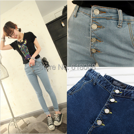 2017 Spring&Autumn New Fashion Women's High Waisted Jeans Korean Style Elastic Thin Hips Pencil Jeans Skinny Pants Size:26~30 women jeans autumn new fashion high waisted boyfriend street style roll up bottom casual denim long pants sp2096