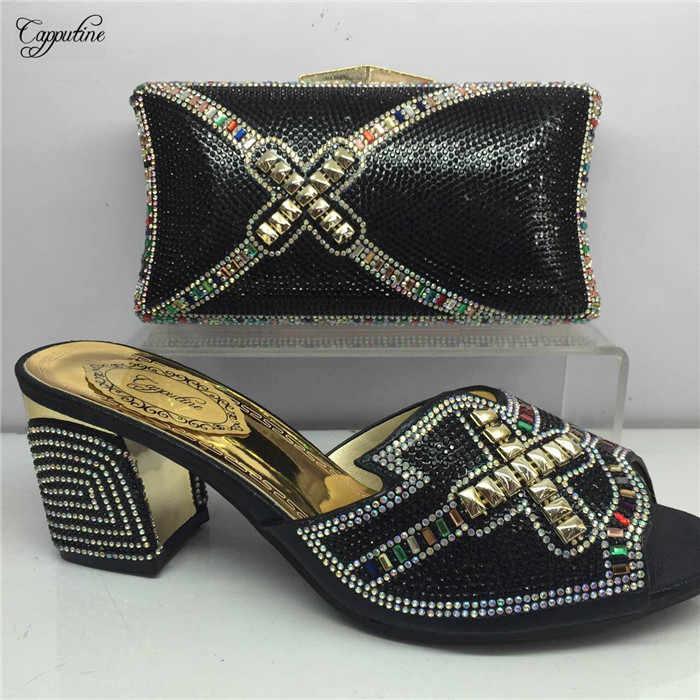 Fashion Yang Paling Afrika Slip-On Tinggi Tumit Pompa Sepatu dan Tas Set dengan Rhinestones GY3, tinggi Hak 6 Cm